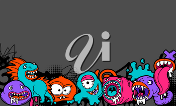 Background with cartoon monsters. Urban colorful teenage creative illustration. Evil creatures in modern comic style.