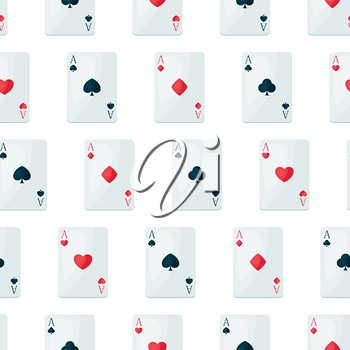 Seamless pattern with four aces playing cards suit. On-board game or gambling for casino.