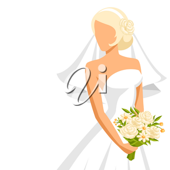 Wedding illustration of beautiful bride. Pretty girl in white dress.