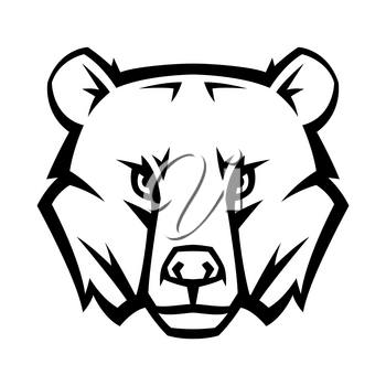 Mascot stylized bear head. Illustration or icon of wild animal.