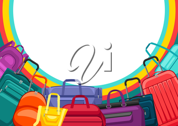 Background with travel suitcases and bags. Illustration for tourism and shops.