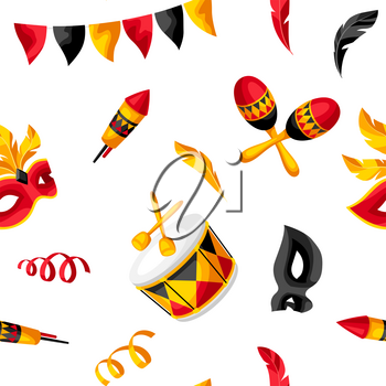 Carnival party seamless pattern with celebration icons, objects and decor. Illustration for traditional holiday or festival.