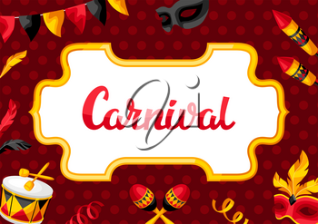 Carnival party background with celebration icons, objects and decor. Illustration for traditional holiday or festival.