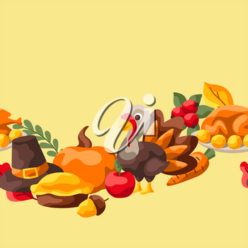 Happy Thanksgiving Day seamless pattern. Background with holiday objects.