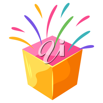 Box with splashes. Image for decoration and design.