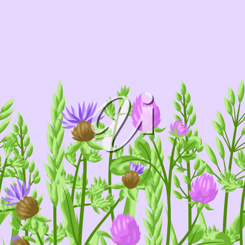 Seamless pattern with herbs and cereal grass. Floral ornament of meadow plants.