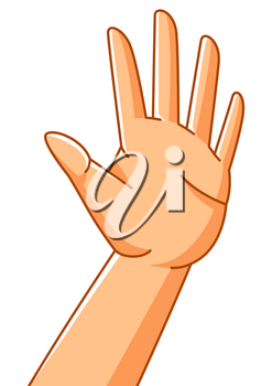 Illustration of hand in stop gesture. Sign of protest and prohibition. Warning signal.