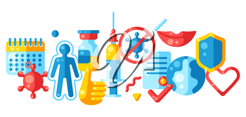 Vaccination concept background with vaccine icons. Immunization items. Health care and protection from virus. Medical and scientific industry.