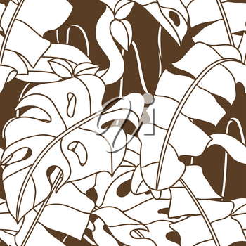 Seamless pattern with palm leaves and twisted wild liana branch. Jungle vines plant. Decorative image of tropical rainforest foliage.