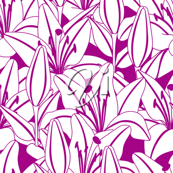 Seamless pattern with stylized lily flowers. Decorative image of beautiful buds. Linear texture.