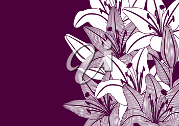 Background with stylized lily flowers. Decorative image of beautiful buds. Linear texture.