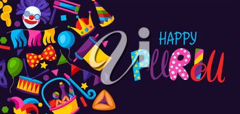 Happy Purim Jewish holiday greeting card. Background with traditional carnival funfair symbols.