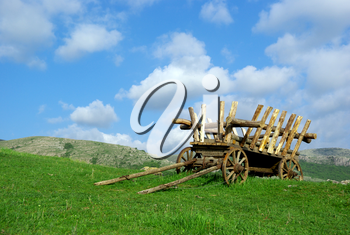 Old cart on field. Nature composition.