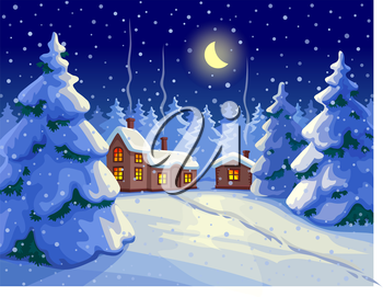 Vector illustration of fir forest. Winter night landscape. Christmas greeting card. New year and Xmas Holidays design.