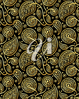Floral seamless pattern in gold and black colors. Oriental design element. Boho style vector illustration.