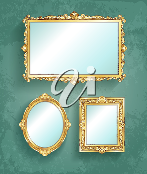 Set of vintage banners. Vector illustration of gold frames.
