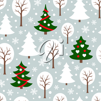 Seamless pattern with winter forest and christmas trees. New year and Xmas Holidays background.