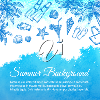 Sea watercolor background. Summer vacation.Hand drawn vector illustration.