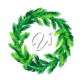 Christmas wreath. Hand drawn watercolor illustration. Banner template. Greeting card. New Year and Xmas Holidays design.