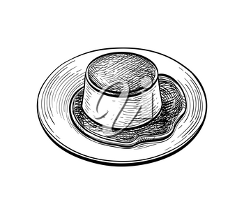 Creme Caramel. Ink sketch isolated on white background. Hand drawn vector illustration. Retro style.