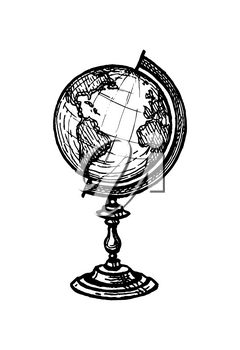 Globe. Vintage object. Ink sketch isolated on white background. Hand drawn vector illustration. Retro style.
