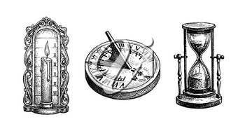 Different types of antique clocks. Sundial, hourglass and candle clock. Time measurement history. Ink sketch isolated on white background. Hand drawn vector illustration. Retro style.