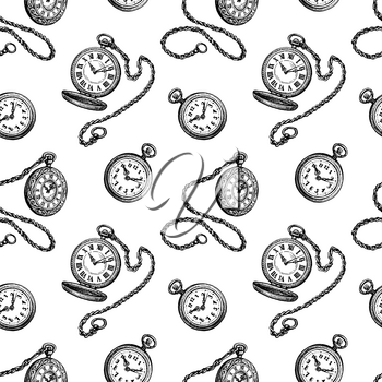 Pocket watch. Seamless pattern. Ink sketches on white background. Hand drawn vector illustration. Retro style.