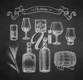 Whiskey collection. Chalk sketch on blackboard background. Hand drawn vector illustration. Retro style.