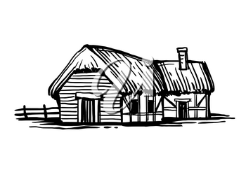 Old European country house. Ink sketch isolated on white background. Hand drawn vector illustration. Retro style.