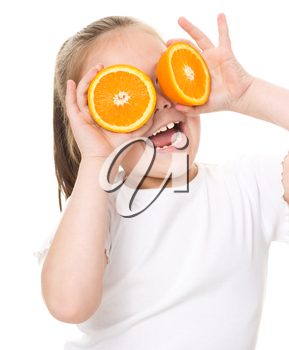 Happy girl with oranges, isolated over white