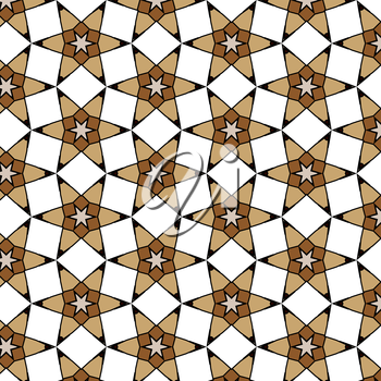 Primitive geometric retro pattern with bricks and mosaic. Brown and red bricks vintage masonry for designs.