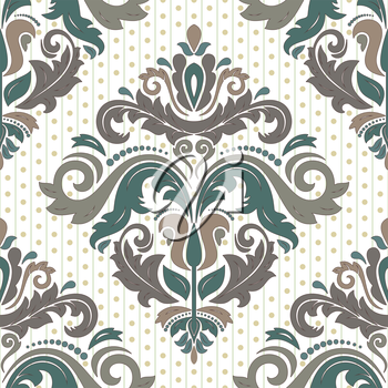 Damask vector floral pattern with arabesque and oriental colorful elements. Seamless abstract traditional ornament for wallpapers and backgrounds