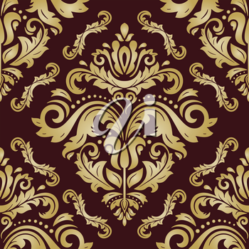 Damask vector classic pattern. Seamless abstract background with repeating elements. Orient brown nd golden background