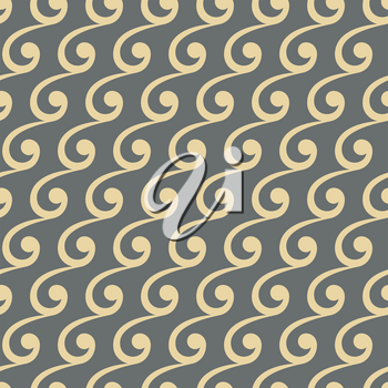 Seamless vector ornament. Modern background. Geometric modern pattern with golden waves