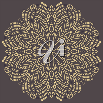 Elegant vintage vector ornament in classic style. Abstract traditional pattern with oriental elements. Classic round golden vintage pattern