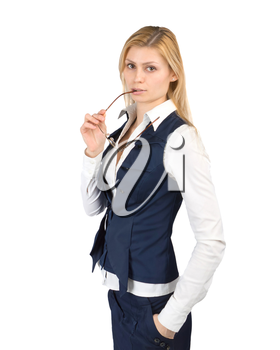 Business woman in a suit with glasses in hand on a white background