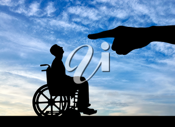Hand employer refuses the disabled person in a wheelchair to employ him for work. The concept of discrimination and inequality for people with disabilities
