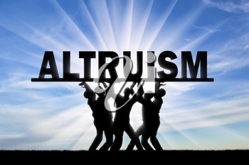 Group of altruistic people hold the word altruism over them. The concept of altruism in society