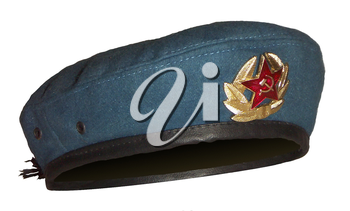 Blue Russian military berets, isolated on a white background.