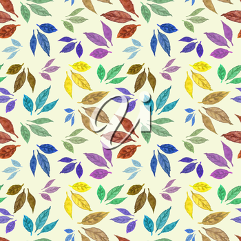 Seamless watercolor pattern with colorful leaves. Design for card, poster or wallpaper.