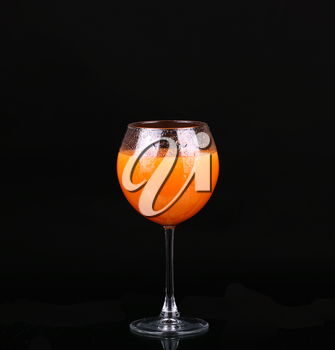 Glasses of organic juices isolated on the black