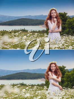 collage of Beautiful young girl with curly red hair in camomile field