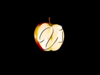 Red apple on a black background