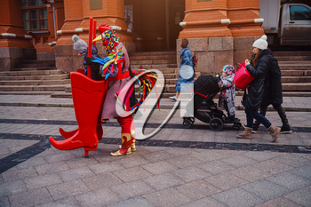 Moscow, Russia, 10 January 2020 : Celebration of the New Year and Christmas on the Red Square in the center of Moscow. Holiday fair and amusement park near the Kremlin.