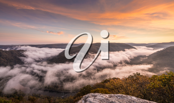 Panorama of New River at Grand View in New River Gorge National park at sunrise in West Virginia