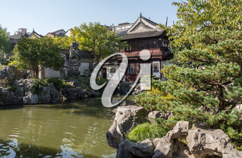 Reflecting pond in Yu or Yuyuan Garden in  the old city of Shanghai