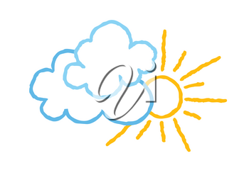Sun with clouds icon. Doodle line art weather sign illustration