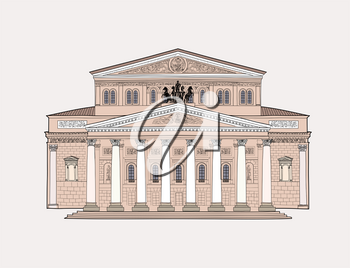 Bolshoy Theatre, Moscow. Russian ballet symbol. Famous building isolated on white background.