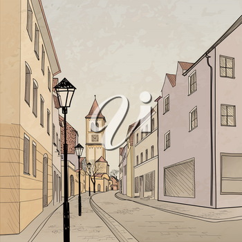 Old-fashioned travel background. Pedestrian street city. Hand drawn sketch. Vector cityscape.