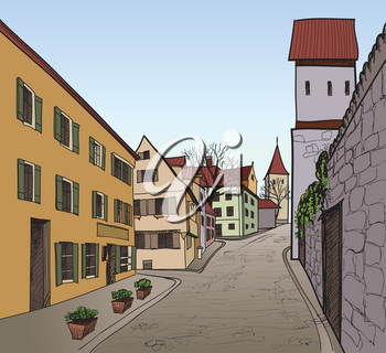 Pedestrian street in the old european city with tower on the background. Historic city street. Hand drawn sketch. Vector illustration.